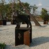 十二支の動物を配した日時計のモニュメント(耐候性鋼使用)②
